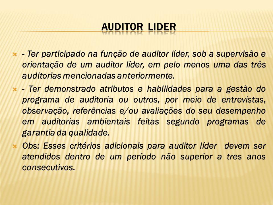 - Ter participado na função de auditor líder, sob a supervisão e orientação de um auditor líder, em pelo menos uma das três auditorias mencionadas ant