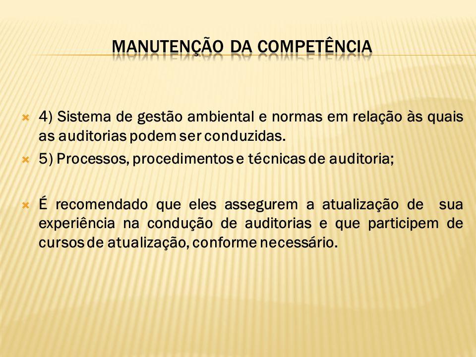 4) Sistema de gestão ambiental e normas em relação às quais as auditorias podem ser conduzidas. 5) Processos, procedimentos e técnicas de auditoria; É