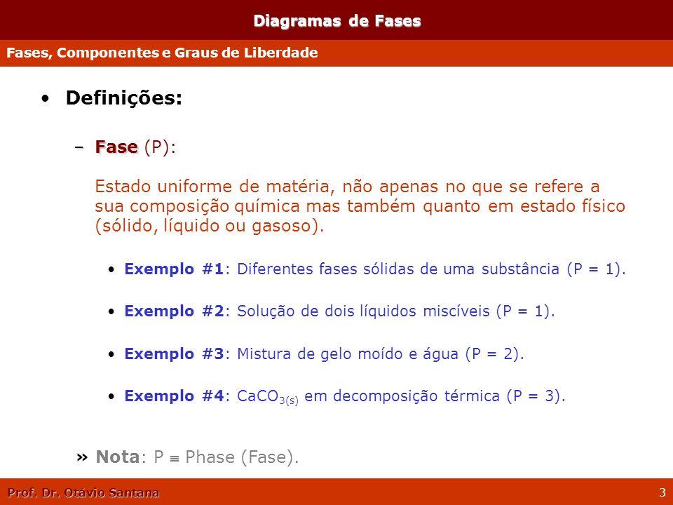 Prof. Dr. Otávio Santana 3 Diagramas de Fases Definições: –Fase –Fase (P): Estado uniforme de matéria, não apenas no que se refere a sua composição qu
