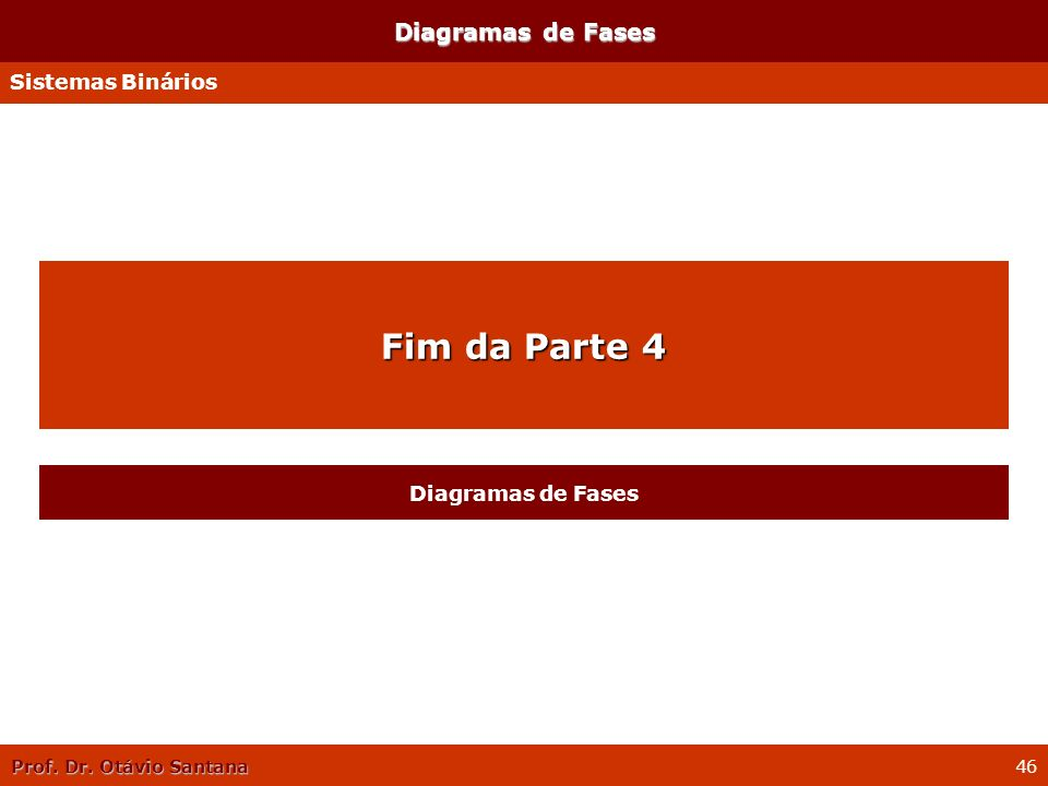 Prof. Dr. Otávio Santana 46 Diagramas de Fases Sistemas Binários Fim da Parte 4 Diagramas de Fases