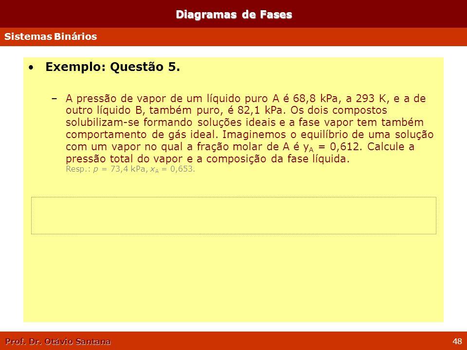 Prof. Dr. Otávio Santana 48 Diagramas de Fases Sistemas Binários Exemplo: Questão 5. –A pressão de vapor de um líquido puro A é 68,8 kPa, a 293 K, e a