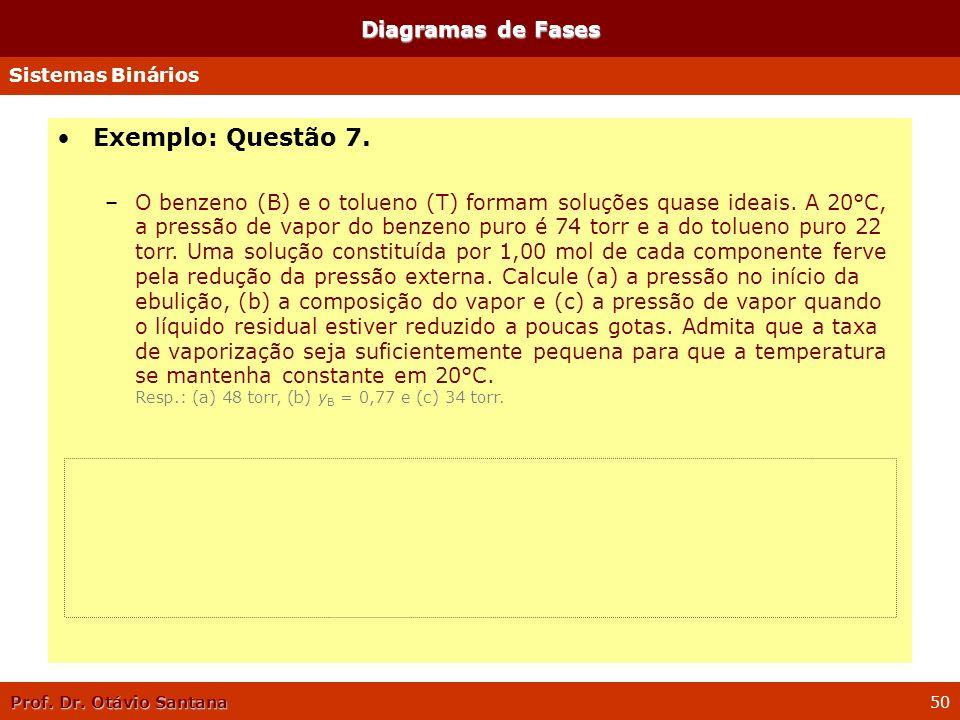 Prof. Dr. Otávio Santana 50 Diagramas de Fases Sistemas Binários Exemplo: Questão 7. –O benzeno (B) e o tolueno (T) formam soluções quase ideais. A 20