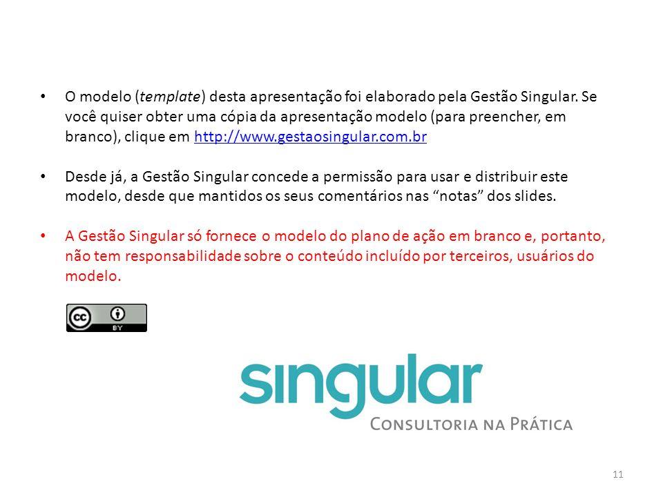 O modelo (template) desta apresentação foi elaborado pela Gestão Singular. Se você quiser obter uma cópia da apresentação modelo (para preencher, em b