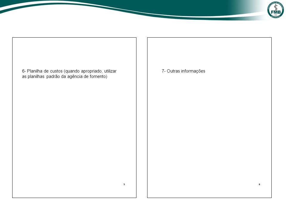 6- Planilha de custos (quando apropriado, utilizar as planilhas padrão da agência de fomento) 7- Outras informações