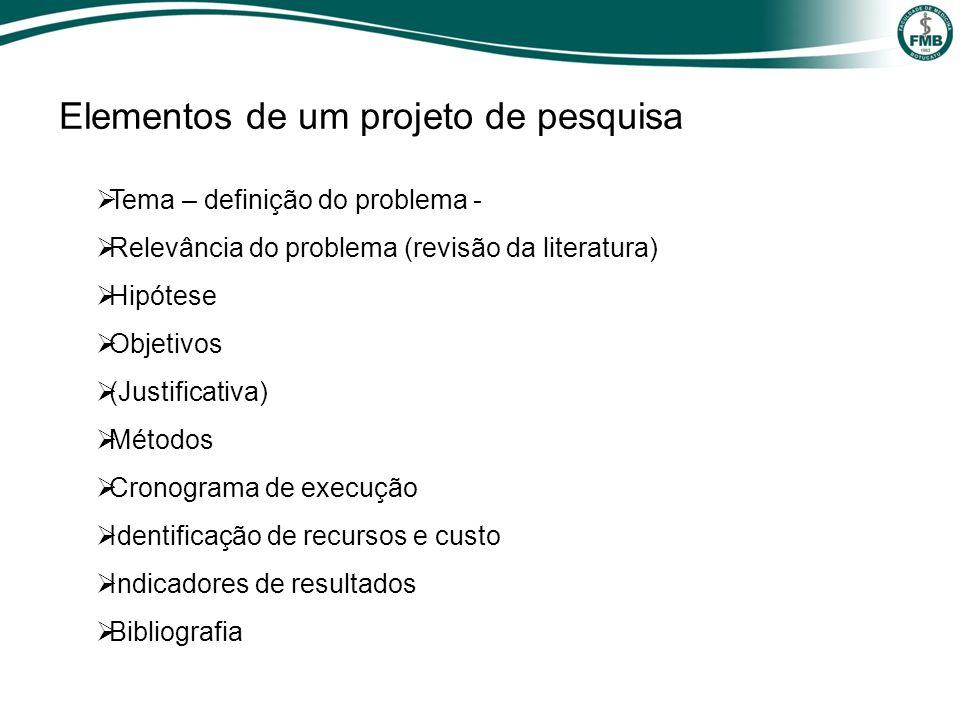 Elementos de um projeto de pesquisa Tema – definição do problema - Relevância do problema (revisão da literatura) Hipótese Objetivos (Justificativa) M