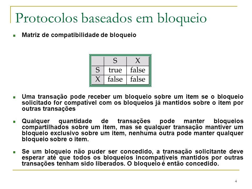 4 Protocolos baseados em bloqueio n Matriz de compatibilidade de bloqueio n Uma transação pode receber um bloqueio sobre um item se o bloqueio solicit