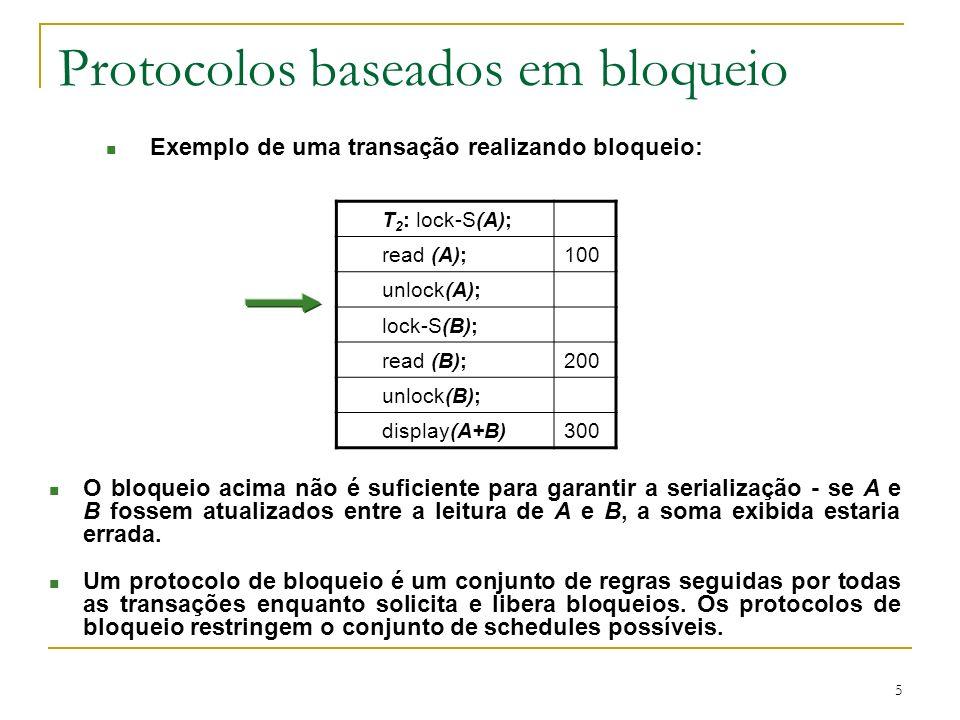 5 Protocolos baseados em bloqueio n O bloqueio acima não é suficiente para garantir a serialização se A e B fossem atualizados entre a leitura de A e