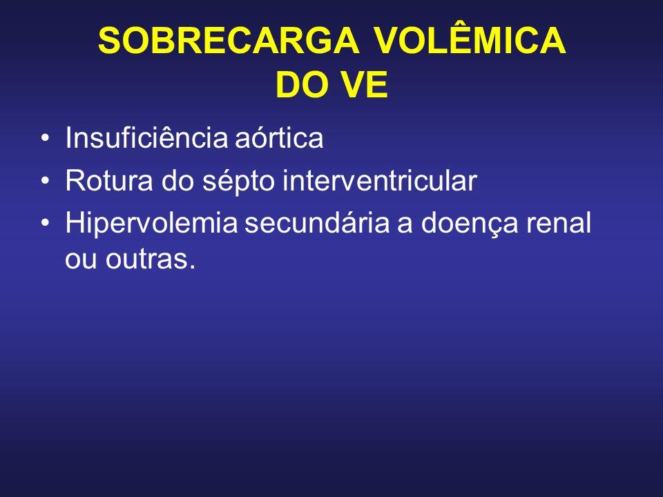 SOBRECARGA VOLÊMICA DO VE Insuficiência aórtica Rotura do sépto interventricular Hipervolemia secundária a doença renal ou outras.