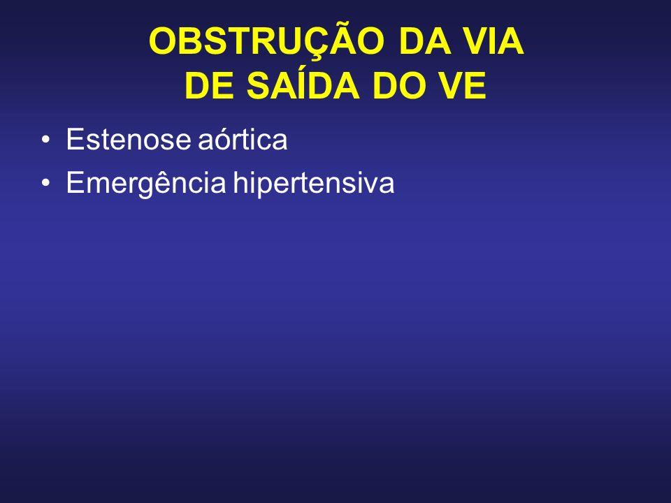 OBSTRUÇÃO DA VIA DE SAÍDA DO VE Estenose aórtica Emergência hipertensiva