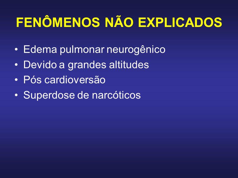 FENÔMENOS NÃO EXPLICADOS Edema pulmonar neurogênico Devido a grandes altitudes Pós cardioversão Superdose de narcóticos