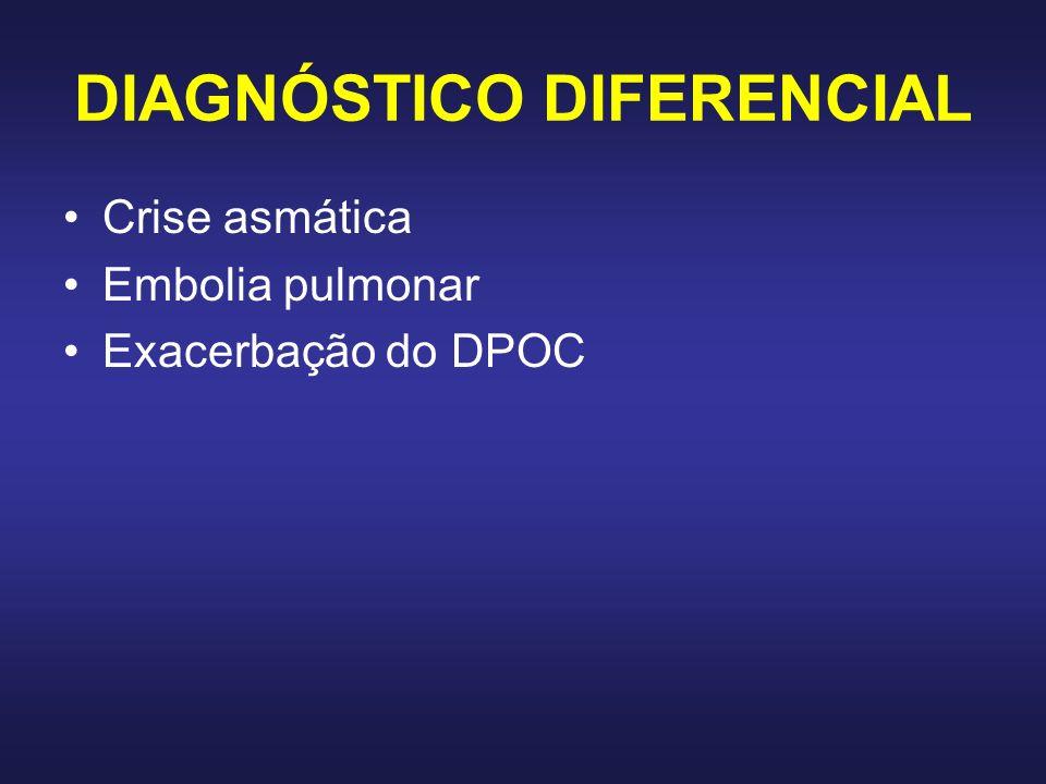 DIAGNÓSTICO DIFERENCIAL Crise asmática Embolia pulmonar Exacerbação do DPOC