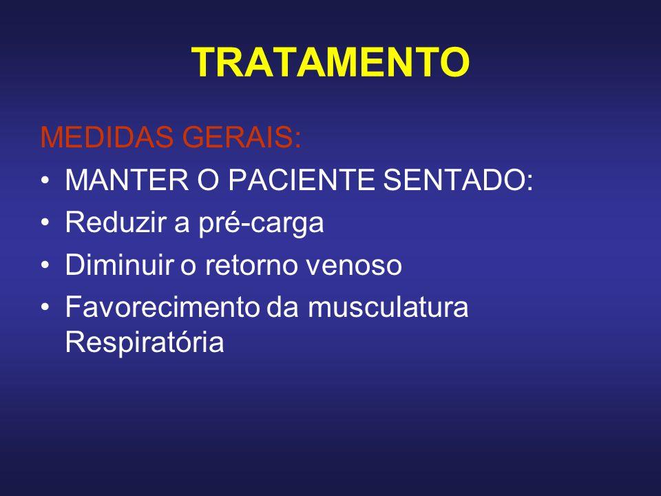 TRATAMENTO MEDIDAS GERAIS: MANTER O PACIENTE SENTADO: Reduzir a pré-carga Diminuir o retorno venoso Favorecimento da musculatura Respiratória