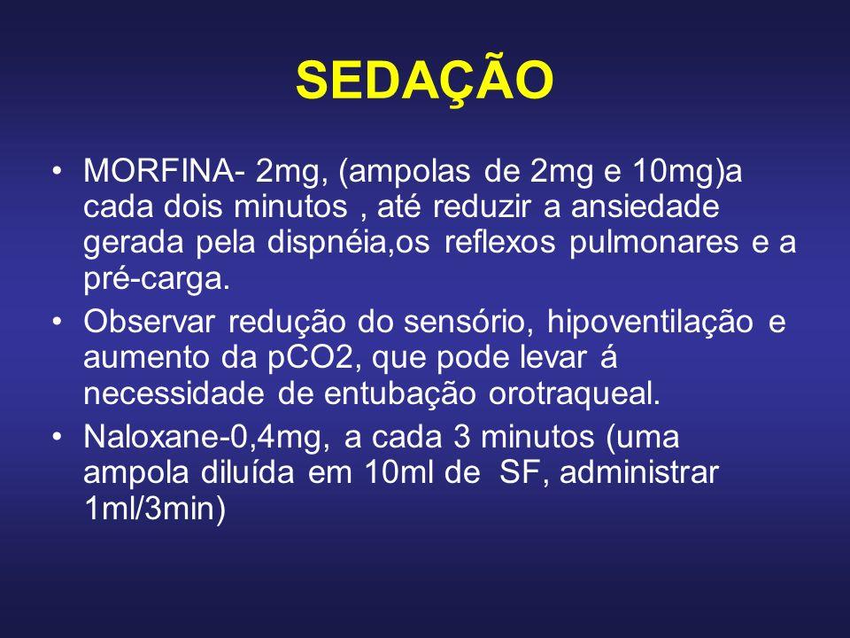 SEDAÇÃO MORFINA- 2mg, (ampolas de 2mg e 10mg)a cada dois minutos, até reduzir a ansiedade gerada pela dispnéia,os reflexos pulmonares e a pré-carga. O