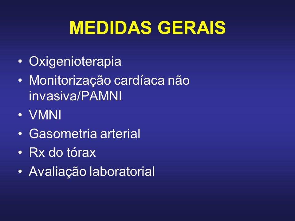 MEDIDAS GERAIS Oxigenioterapia Monitorização cardíaca não invasiva/PAMNI VMNI Gasometria arterial Rx do tórax Avaliação laboratorial