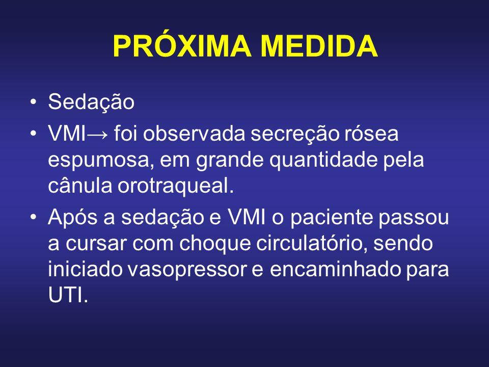 PRÓXIMA MEDIDA Sedação VMI foi observada secreção rósea espumosa, em grande quantidade pela cânula orotraqueal. Após a sedação e VMI o paciente passou