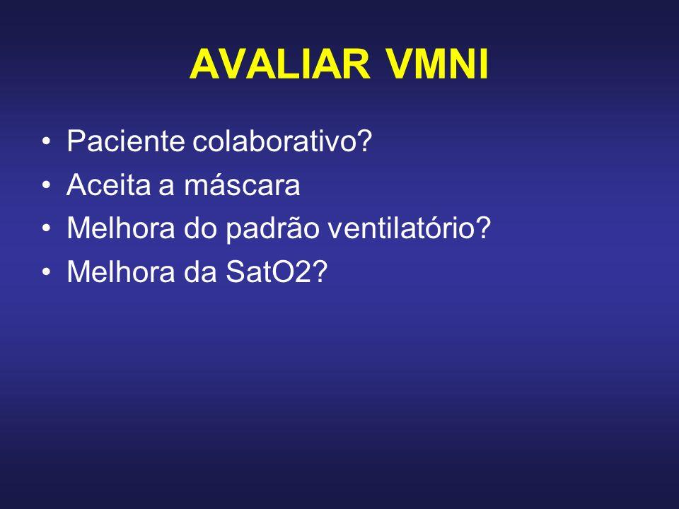 AVALIAR VMNI Paciente colaborativo? Aceita a máscara Melhora do padrão ventilatório? Melhora da SatO2?