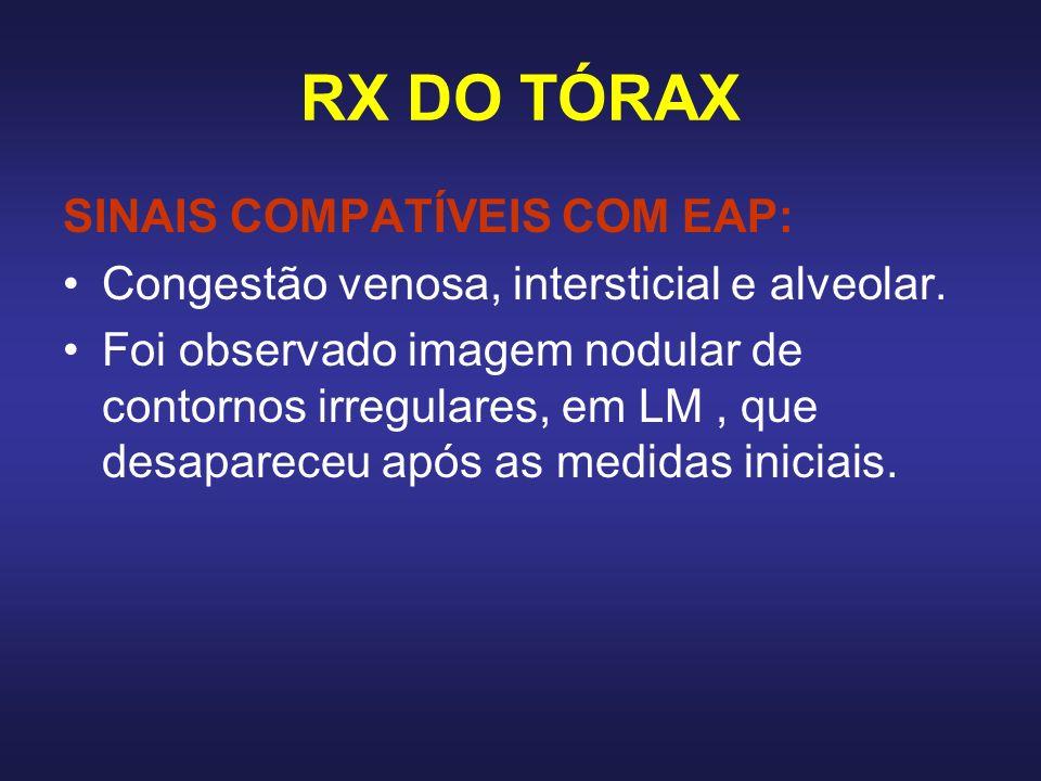 RX DO TÓRAX SINAIS COMPATÍVEIS COM EAP: Congestão venosa, intersticial e alveolar. Foi observado imagem nodular de contornos irregulares, em LM, que d