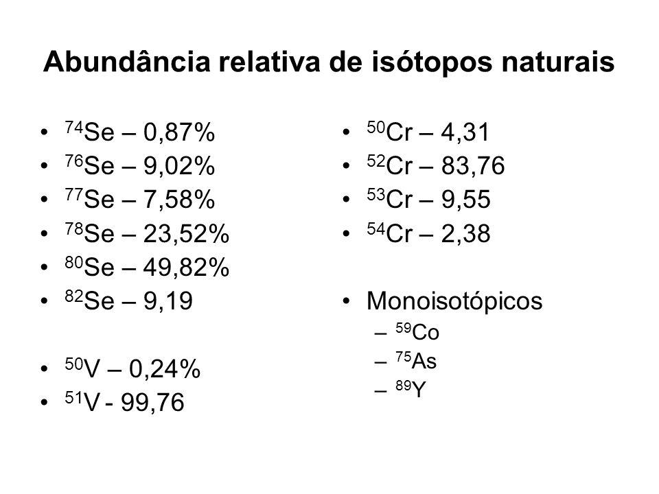Abundância relativa de isótopos naturais 74 Se – 0,87% 76 Se – 9,02% 77 Se – 7,58% 78 Se – 23,52% 80 Se – 49,82% 82 Se – 9,19 50 V – 0,24% 51 V - 99,7