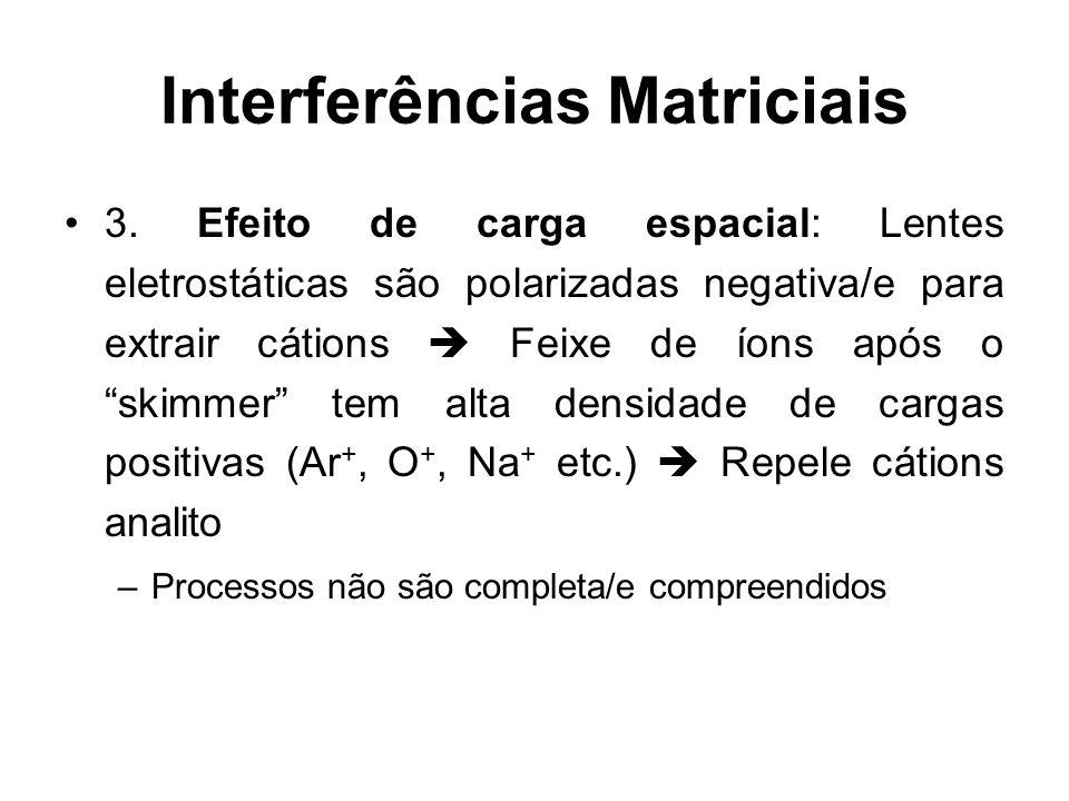 Interferências Matriciais 3. Efeito de carga espacial: Lentes eletrostáticas são polarizadas negativa/e para extrair cátions Feixe de íons após o skim