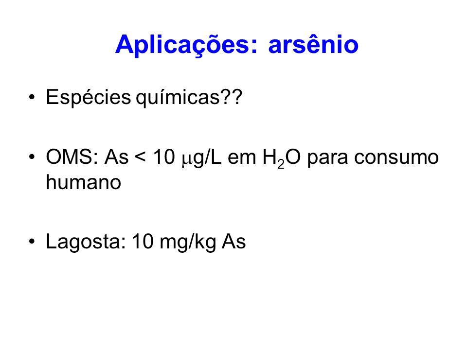 Aplicações: arsênio Espécies químicas?? OMS: As < 10 g/L em H 2 O para consumo humano Lagosta: 10 mg/kg As