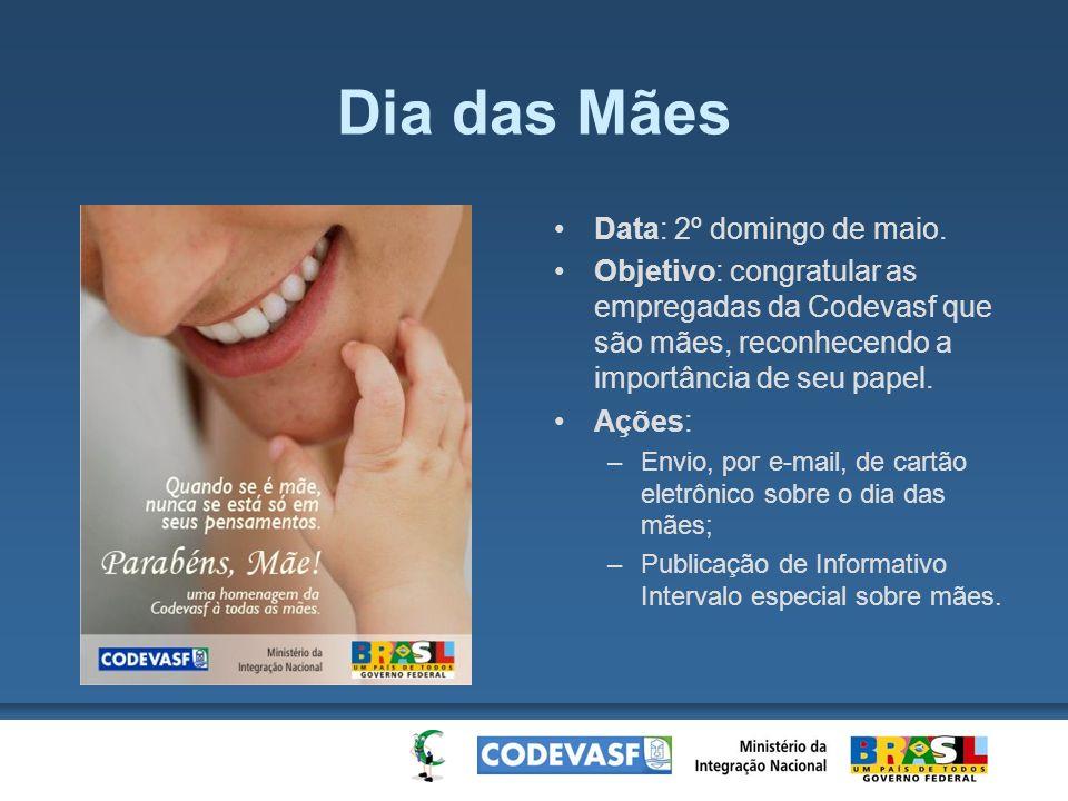 Dia das Mães Data: 2º domingo de maio. Objetivo: congratular as empregadas da Codevasf que são mães, reconhecendo a importância de seu papel. Ações: –