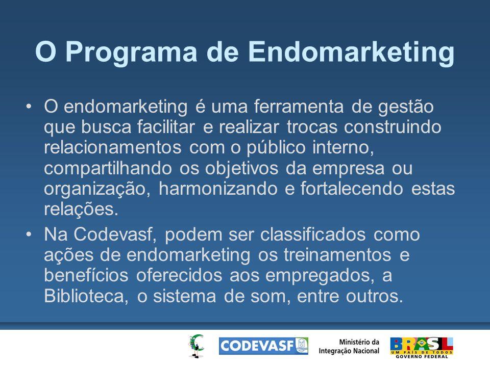 O Programa de Endomarketing O endomarketing é uma ferramenta de gestão que busca facilitar e realizar trocas construindo relacionamentos com o público