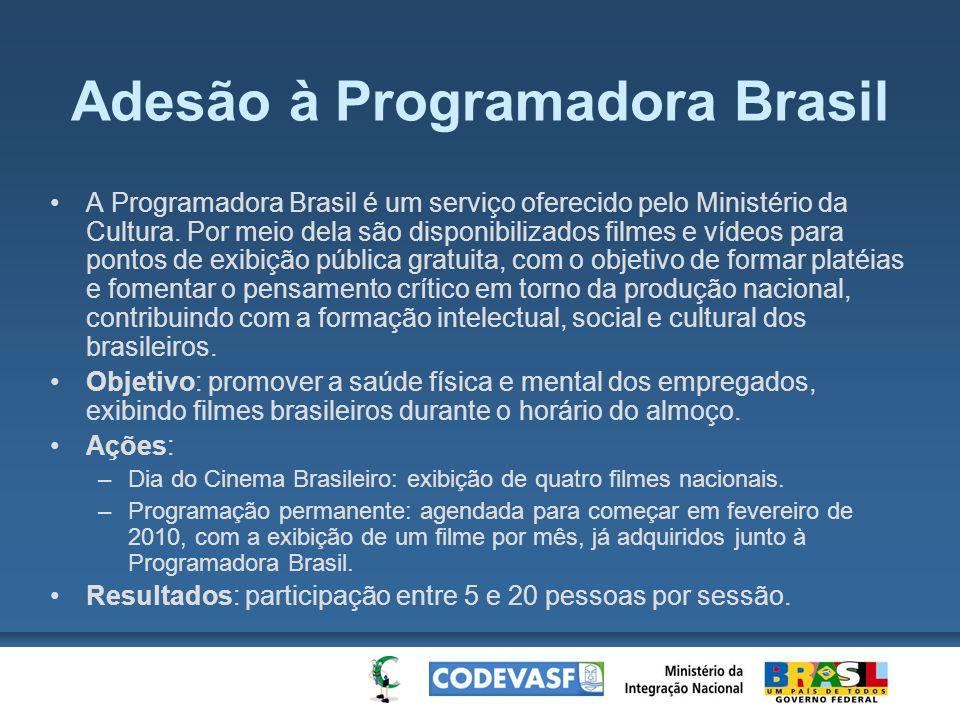 Adesão à Programadora Brasil A Programadora Brasil é um serviço oferecido pelo Ministério da Cultura. Por meio dela são disponibilizados filmes e víde