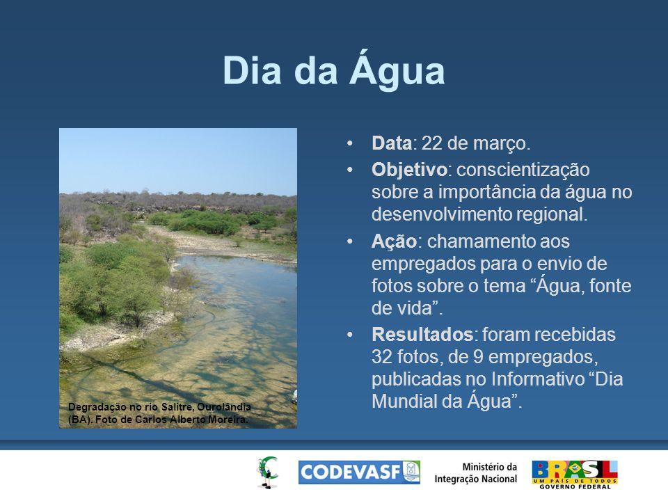 Dia da Água Data: 22 de março. Objetivo: conscientização sobre a importância da água no desenvolvimento regional. Ação: chamamento aos empregados para