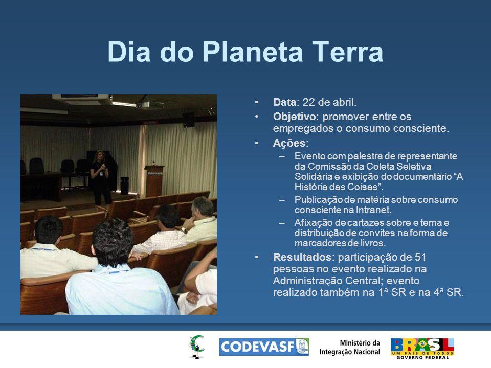 Dia do Planeta Terra Data: 22 de abril. Objetivo: promover entre os empregados o consumo consciente. Ações: –Evento com palestra de representante da C