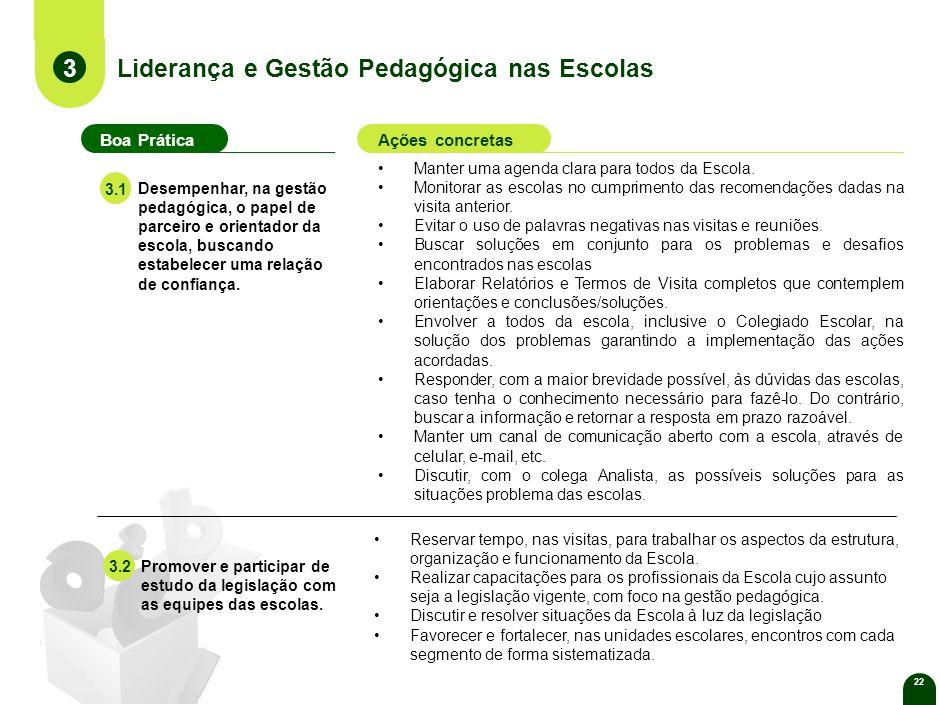 22 Liderança e Gestão Pedagógica nas Escolas 3 Boa PráticaAções concretas Manter uma agenda clara para todos da Escola.