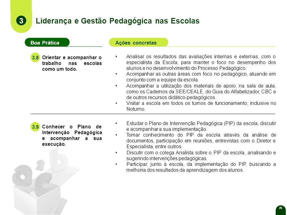 26 Liderança e Gestão Pedagógica nas Escolas Estudar o Plano de Intervenção Pedagógica (PIP) da escola, discutir e acompanhar a sua implementação.