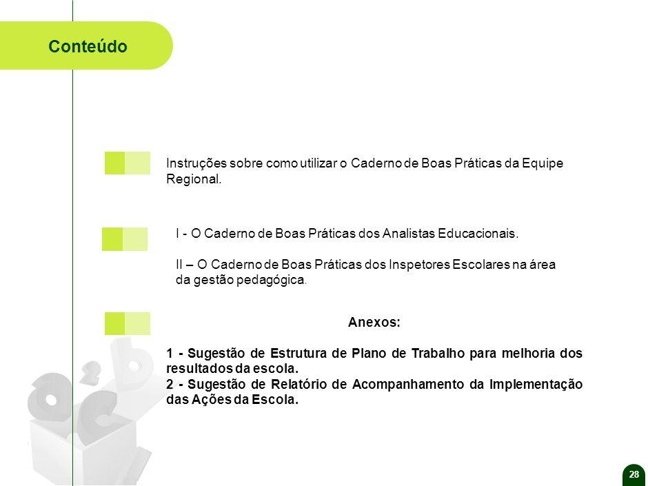 28 Conteúdo Anexos: 1 - Sugestão de Estrutura de Plano de Trabalho para melhoria dos resultados da escola.