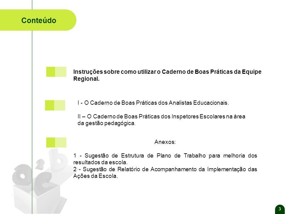 3 Conteúdo Anexos: 1 - Sugestão de Estrutura de Plano de Trabalho para melhoria dos resultados da escola.