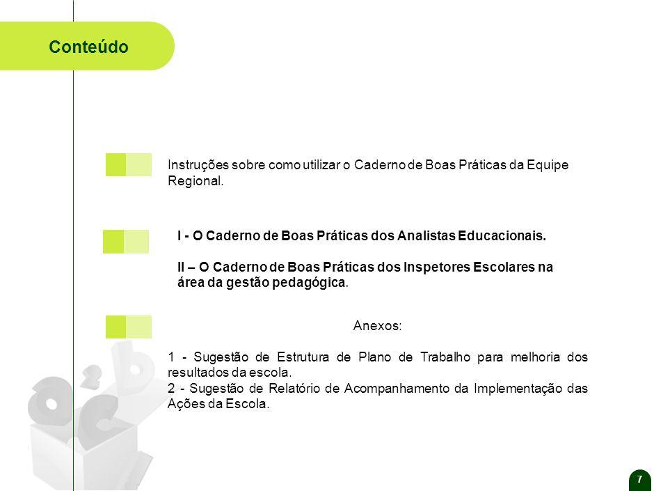 7 Conteúdo Anexos: 1 - Sugestão de Estrutura de Plano de Trabalho para melhoria dos resultados da escola.