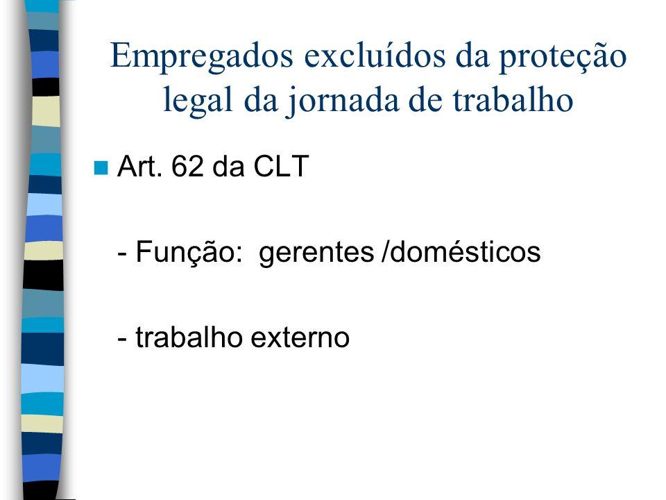 Empregados excluídos da proteção legal da jornada de trabalho Art. 62 da CLT - Função: gerentes /domésticos - trabalho externo