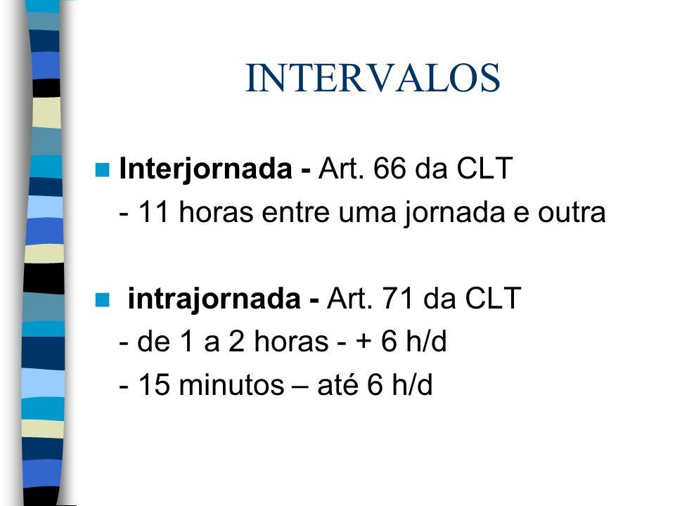 INTERVALOS Interjornada - Art. 66 da CLT - 11 horas entre uma jornada e outra intrajornada - Art. 71 da CLT - de 1 a 2 horas - + 6 h/d - 15 minutos –