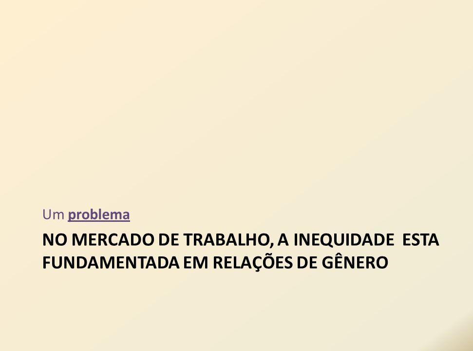 NO MERCADO DE TRABALHO, A INEQUIDADE ESTA FUNDAMENTADA EM RELAÇÕES DE GÊNERO Um problema