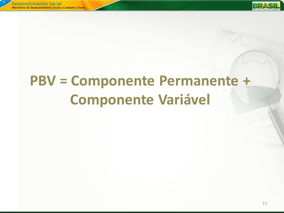 PBV = Componente Permanente + Componente Variável 13