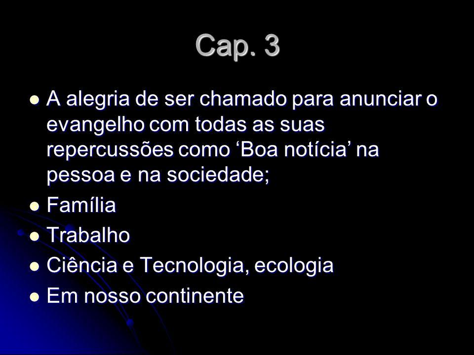 Cap. 3 A alegria de ser chamado para anunciar o evangelho com todas as suas repercussões como Boa notícia na pessoa e na sociedade; A alegria de ser c