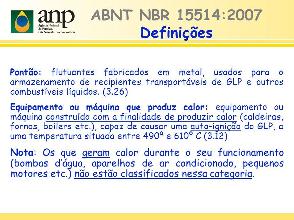 Pontão: flutuantes fabricados em metal, usados para o armazenamento de recipientes transportáveis de GLP e outros combustíveis líquidos. (3.26) Equipa