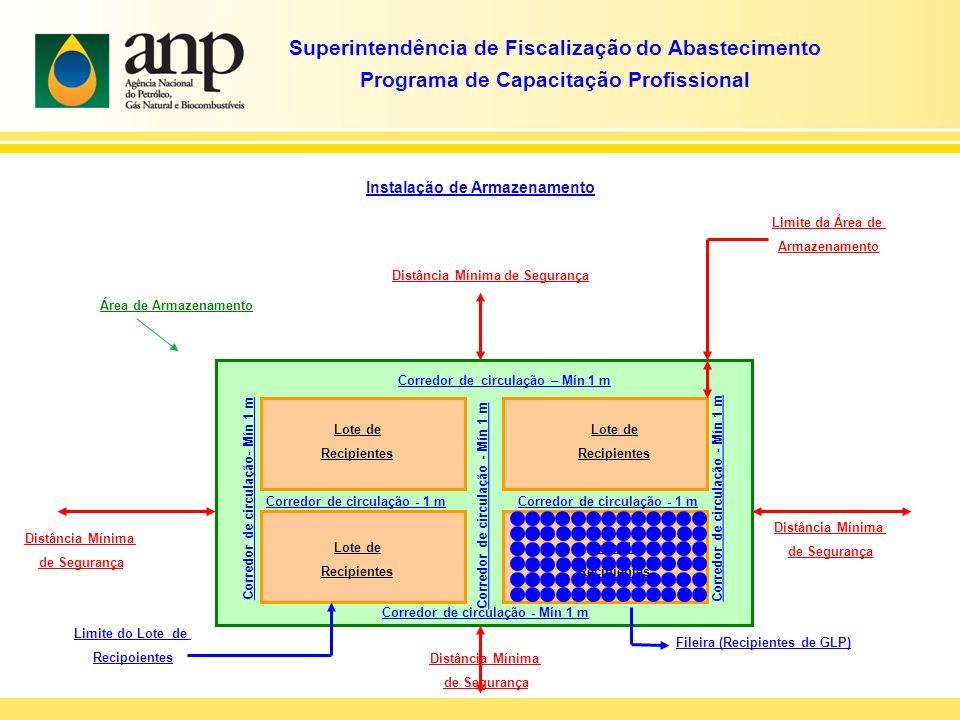 Superintendência de Fiscalização do Abastecimento Programa de Capacitação Profissional Instalação de Armazenamento Área de Armazenamento Distância Mínima de Segurança Distância Mínima de Segurança Lote de Recipientes Lote de Recipientes Lote de Recipientes Lote de Recipientes Corredor de circulação – Mín 1 m Corredor de circulação - 1 m Corredor de circulação - Mín 1 m Corredor de circulação - 1 m Limite da Área de Armazenamento Limite do Lote de Recipoientes Fileira (Recipientes de GLP) Distância Mínima de Segurança Distância Mínima de Segurança