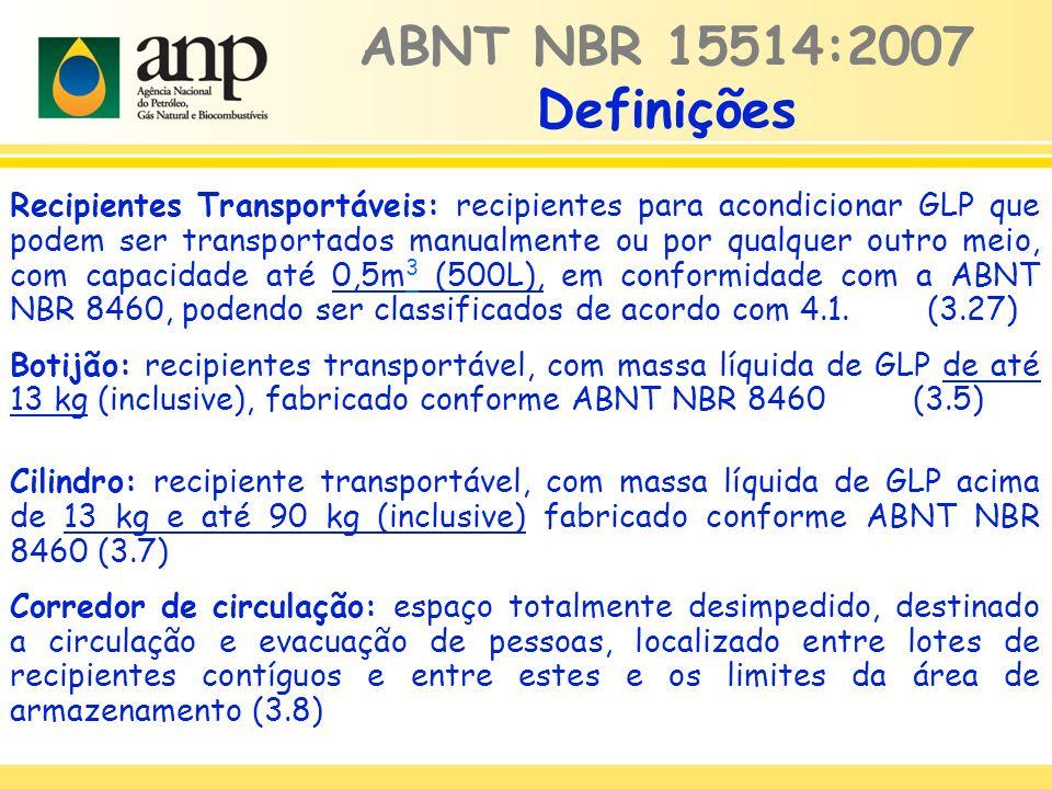 Recipientes Transportáveis: recipientes para acondicionar GLP que podem ser transportados manualmente ou por qualquer outro meio, com capacidade até 0,5m 3 (500L), em conformidade com a ABNT NBR 8460, podendo ser classificados de acordo com 4.1.