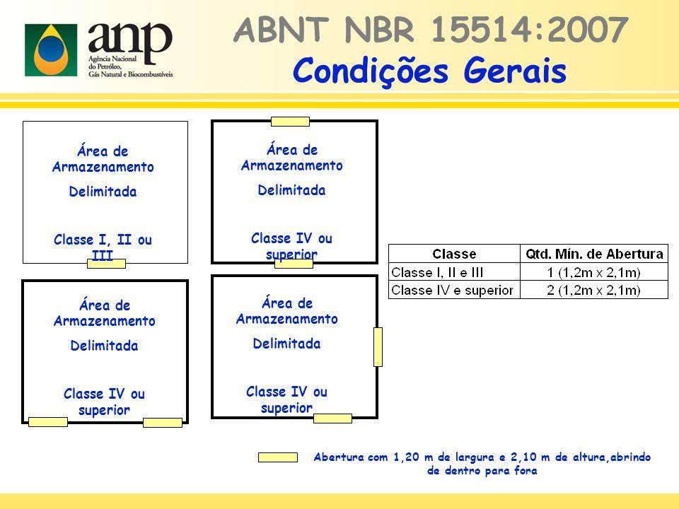 ABNT NBR 15514:2007 Condições Gerais Área de Armazenamento Delimitada Classe I, II ou III Área de Armazenamento Delimitada Classe IV ou superior Área