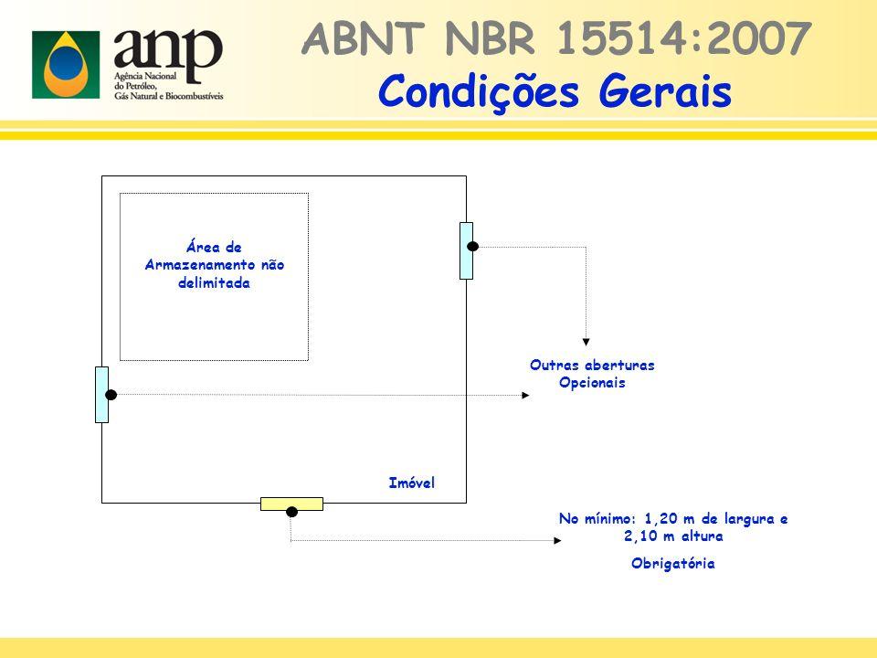 ABNT NBR 15514:2007 Condições Gerais No mínimo: 1,20 m de largura e 2,10 m altura Obrigatória Área de Armazenamento não delimitada Imóvel Outras aberturas Opcionais