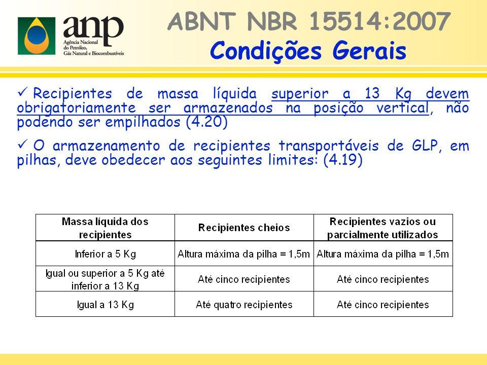 Recipientes de massa líquida superior a 13 Kg devem obrigatoriamente ser armazenados na posição vertical, não podendo ser empilhados (4.20) O armazenamento de recipientes transportáveis de GLP, em pilhas, deve obedecer aos seguintes limites: (4.19) ABNT NBR 15514:2007 Condições Gerais