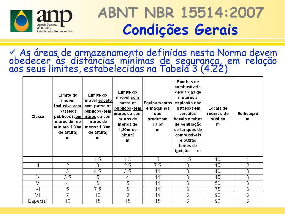 ABNT NBR 15514:2007 Condições Gerais As áreas de armazenamento definidas nesta Norma devem obedecer às distâncias mínimas de segurança, em relação aos seus limites, estabelecidas na Tabela 3 (4.22)