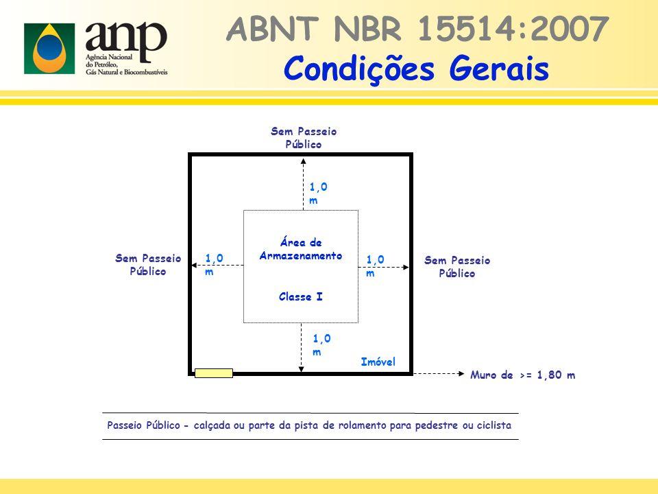 ABNT NBR 15514:2007 Condições Gerais Área de Armazenamento Classe I Imóvel Passeio Público - calçada ou parte da pista de rolamento para pedestre ou ciclista 1,0 m Muro de >= 1,80 m 1,0 m Sem Passeio Público