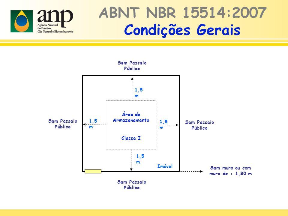 ABNT NBR 15514:2007 Condições Gerais Área de Armazenamento Classe I Imóvel 1,5 m Sem muro ou com muro de < 1,80 m 1,5 m Sem Passeio Público