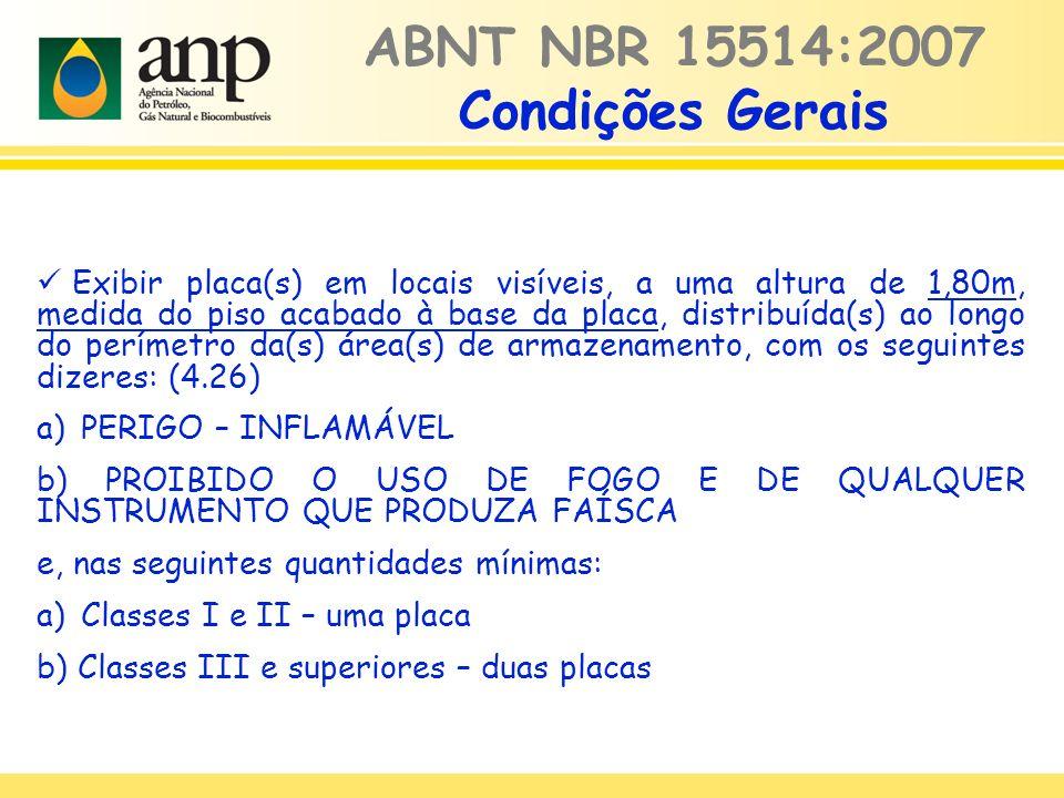 ABNT NBR 15514:2007 Condições Gerais Exibir placa(s) em locais visíveis, a uma altura de 1,80m, medida do piso acabado à base da placa, distribuída(s)
