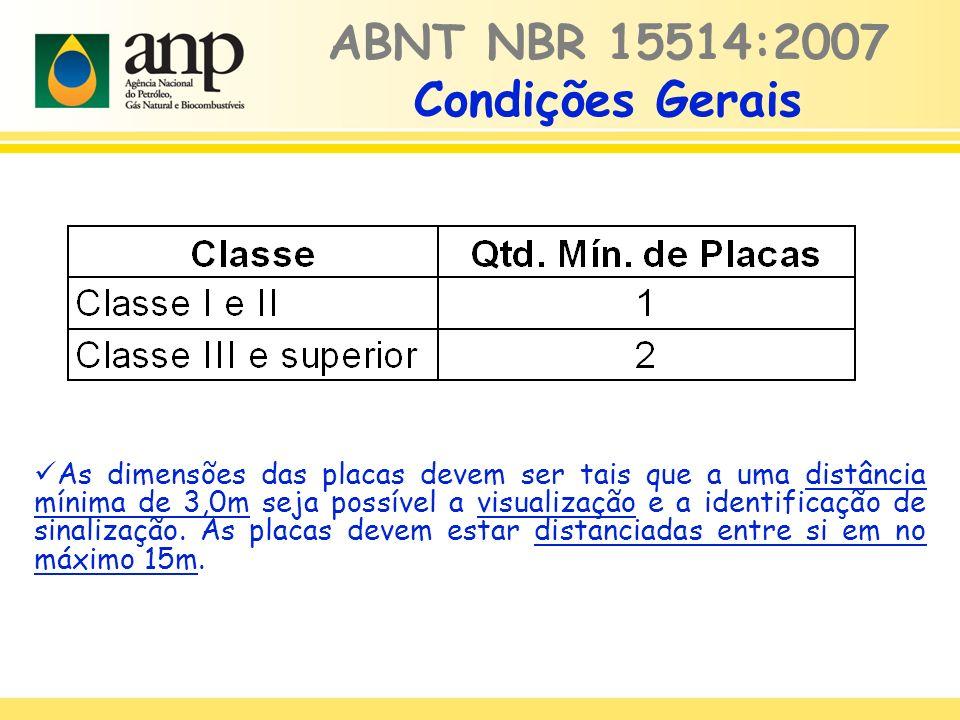 ABNT NBR 15514:2007 Condições Gerais As dimensões das placas devem ser tais que a uma distância mínima de 3,0m seja possível a visualização e a identi